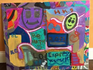 """A water color painting from the young women at Honeyshine given to Rizk Ventures as a """"Thank You"""" present."""