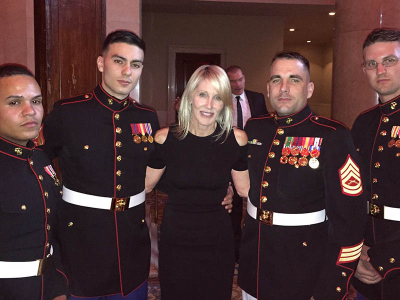 Linda Rizk with U.S. Marines