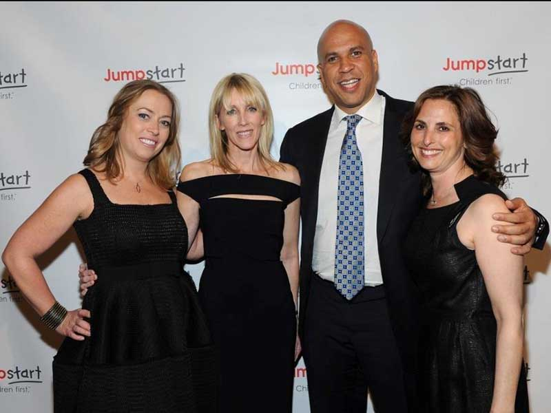 Lorie Almon (Co-Managing Partner at Seyfarth Shaw and Board of Director at Jumpstart), Linda Rizk, Honorable Cory Booker, and Jennifer Marrus (Board of Director at Jumpstart)