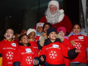 Santa withthe children of the York Street Project